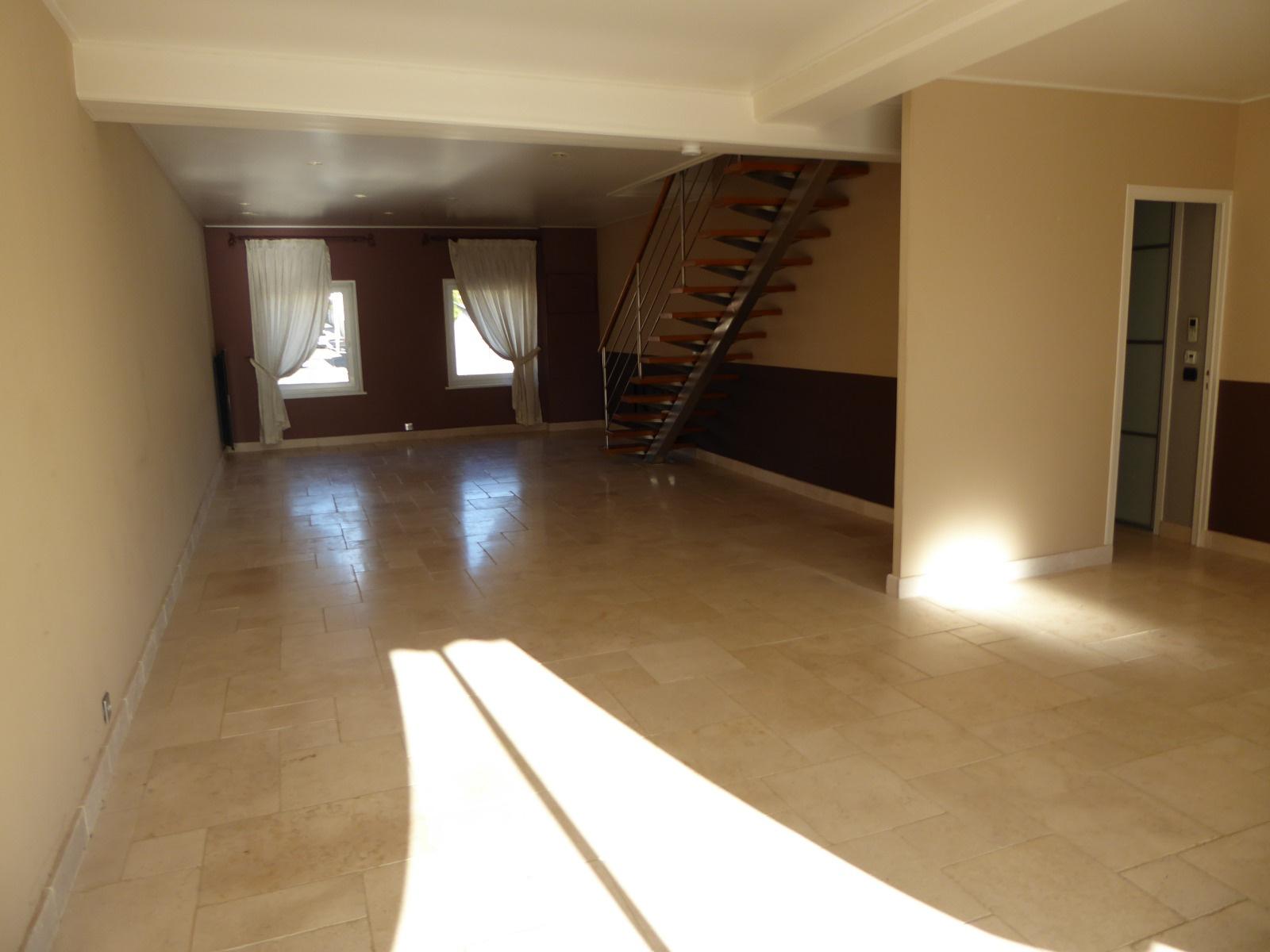 Séjour salon de 54 m², au rez-de-chaussée. Prolongé par une terrasse de 19