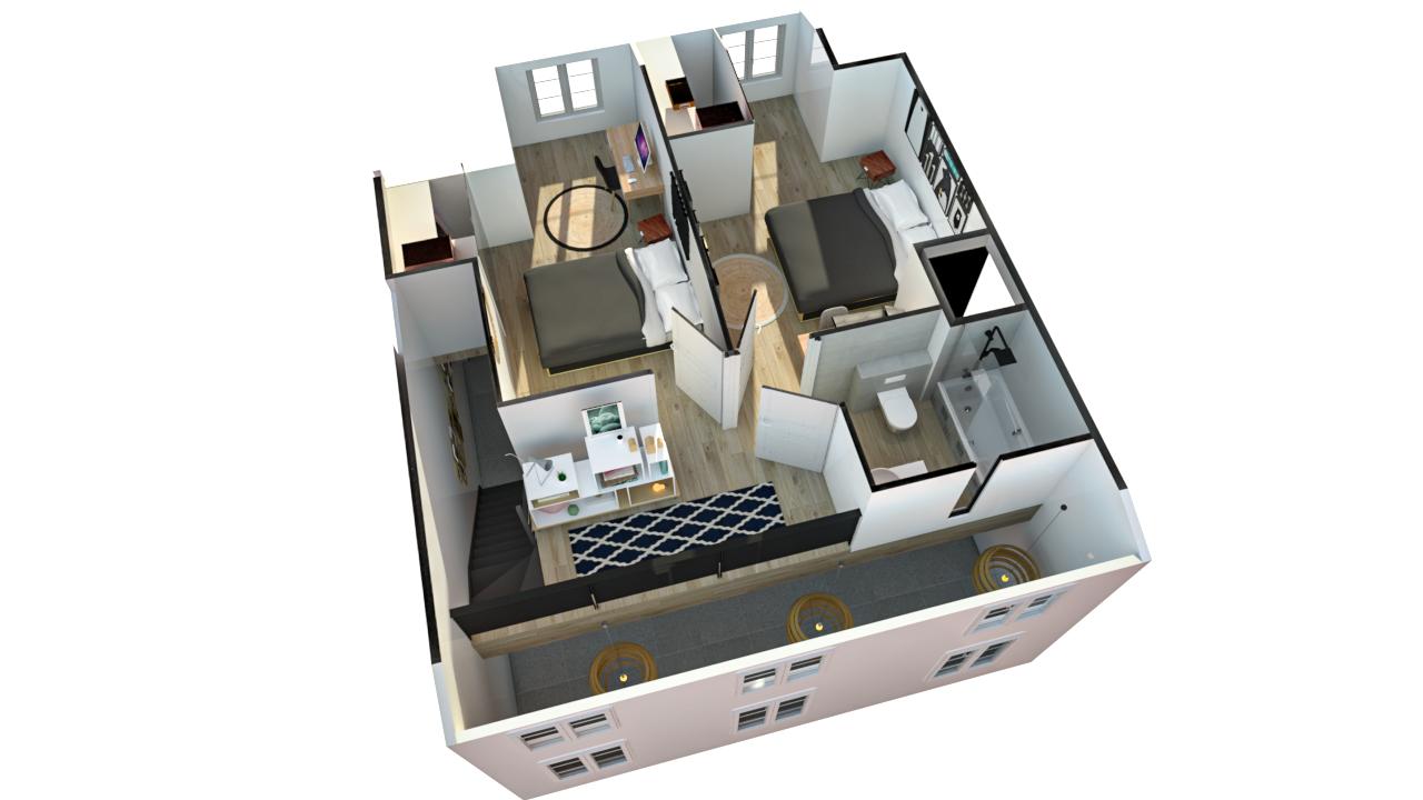 projection 3D avec simulation d'aménagement intérieur bas